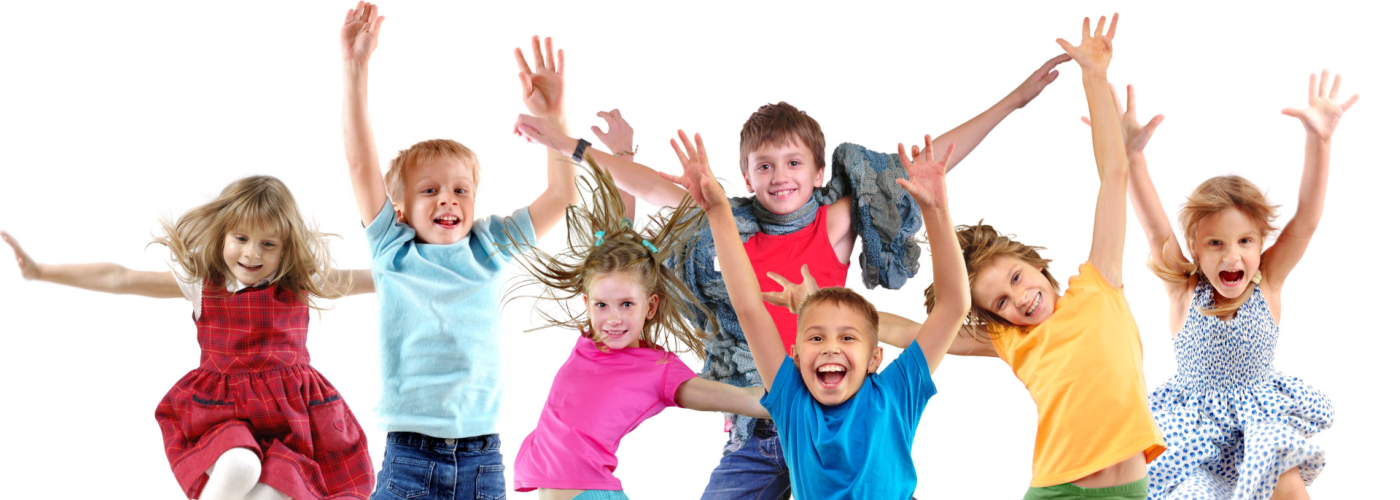 Large group of happy cheerful sportive children jumping